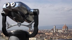 ULTRA HD 4K Tourist binocular telescope Duomo church Florence sunny day tourism  Stock Footage
