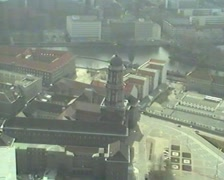 Historic East Berlin panoramic view from Fernsehturm 1994 (digitalized vhs) Stock Footage