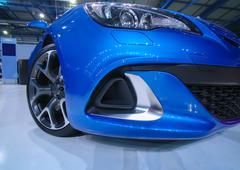 Modern blue sports car Stock Photos