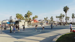 Public Basketball Courts At Venice Beach, California Stock Footage