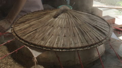 Rice paper being steamed in Vietnam Stock Footage