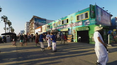 Crowded Venice Beach Boardwalk With People Tourists Walking Stock Footage