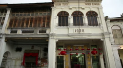 Chinese shop - house street terrace colonial building, Penang Stock Footage