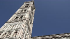 ULTRA HD 4K Closeup Giotto bell tower Florence landmark iconic building sunny  Stock Footage
