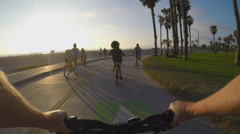 Viewpoint Of Bicycle Rider On Santa Monica Bike Path - stock footage
