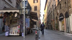 ULTRA HD 4K Narrow street Florence old town souvenir shop commercial road iconic Stock Footage