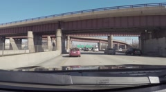 Driving car in traffic toward downtown Chicago, Illinois Stock Footage