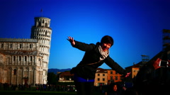 4K Italy Tuscany Toscana Tourist posing for photo at Pisa leaning Tower - stock footage