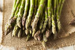 Organic Raw Green Asparagus - stock photo