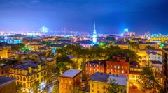 Savannah, Georgia Skyline Time Lapse Stock Footage