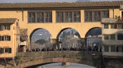 ULTRA HD 4K Closeup Old Bridge Florence landmark iconic crowded tourist people   Stock Footage
