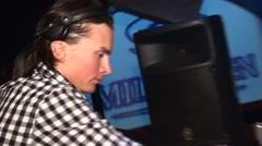 Dj playing and dancing in nightclub Stock Footage