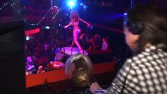 Dj playing and dancing in nightclub. Stock Footage