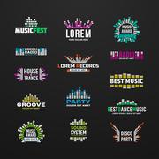 First big set music equalizer emblem vector elements on dark background - stock illustration