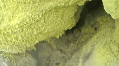 Hot volcanic sulfur vent - stock footage