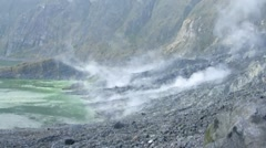 Volcanic lake and fumaroles Stock Footage