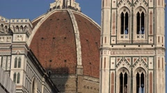 ULTRA HD 4K Closeup famous cathedral Florence Giotto bell tower landmark sunny  Stock Footage