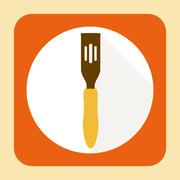 Kitchen ware spatula. flat icon with long shadow Stock Illustration