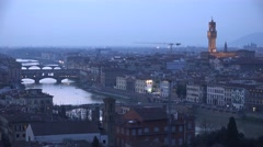 ULTRA HD 4K Aerial view Florence cityscape landmark twilight dusk old bridge day Stock Footage