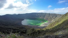 Volcanic crater and sulfur lake Stock Footage