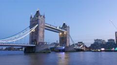 4k - Time lapse shot of Tower Bridge London at sunset Hyper lapse Stock Footage