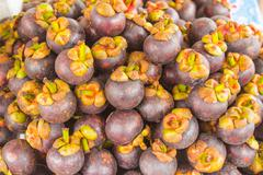Mangosteen, Exotic fruits Southeast Asia. - stock photo