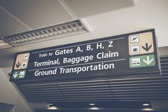 Baggage Claim sign found in the arrival terminal of airports with Retro Insta Stock Photos