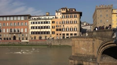 ULTRA HD 4K Beautiful Florence architecture bridge Arno river tourism attraction Stock Footage