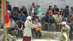 Stock Video Footage of Lamayuru Festival 2013 Festival clowns ask for Donation,Lamayuru,Ladakh,India