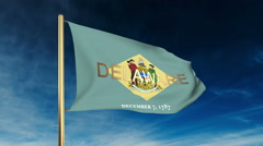 Delaware flag slider style with title. Waving in the wind with cloud background Stock Footage