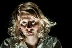 mad Woman with Emotional Disorder - stock photo