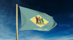 Delaware flag slider style. Waving in the win with cloud background animation Stock Footage