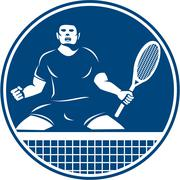 Tennis Player Racquet Fist Pump Icon Stock Illustration
