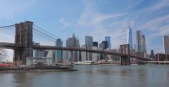 New York City Manhattan downtown buildings skyline Brooklyn Bridge Stock Footage