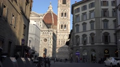 ULTRA HD 4K Traffic street Florence duomo old church cathedral day landmark icon Stock Footage