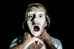 Woman Victim Being Strangle by her Boyfriend - stock photo