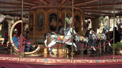 ULTRA HD 4K Closeup merry go round carnival carousel fun entertainment childhood Stock Footage