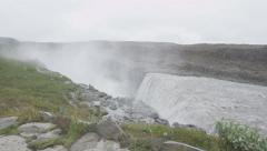 Waterfall Dettifoss on Iceland - tourist attractions and landmark - stock footage