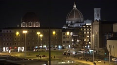 ULTRA HD 4K Famous Florence landmark traffic street church cathedral night light Stock Footage