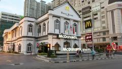 Mcdonald's Restaurant exterior, George Town, Malaysia Stock Footage