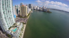 Aerial Brickell Bay Drive 4k 4 Stock Footage
