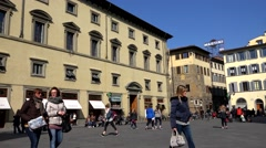 ULTRA HD 4K Timelapse tourist people famous old town Florence emblem iconic day Stock Footage