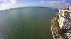 Aerial Brickell Bay Drive 4k 2 Stock Footage