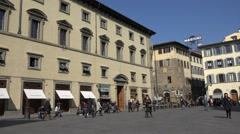 ULTRA HD 4K Tourist people visit old town Florence public square crowded town  Stock Footage