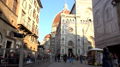 ULTRA HD 4K Timelapse tourist people visit famous cathedral Florence church day  Stock Footage
