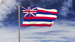 Hawaii flag waving in the wind. Green screen, alpha matte. Loopable animation Stock Footage