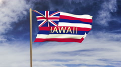 Hawaii flag with title waving in the wind. Looping sun rises style.  Animation Stock Footage