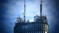 TimeLapse of Microwave antenna on commercial building Stock Footage
