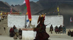 Lamayuru Festival 2013 Dancer with spectators,Lamayuru,Ladakh,India Stock Footage