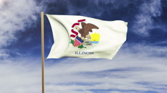 Illinois flag waving in the wind. Green screen, alpha matte. Loopable animation Stock Footage